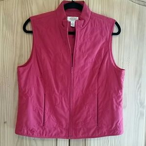Talbots red sleeveless quilted vest